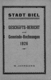 Gemeinde-Rechnungen 1926 - Stadt Biel