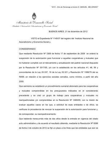 7531/2012 [Sumario a cooperativas y mutuales sobre - Inaes
