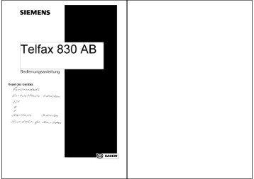 BDA Siemens Telfax 830AB - Fax-Anleitung.de