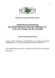 Hopfenbauversammlung des Hopfenpflanzerverbandes Hallertau ...