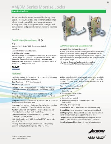 AM/BM Series Mortise Locks - Arrow Architectural Hardware