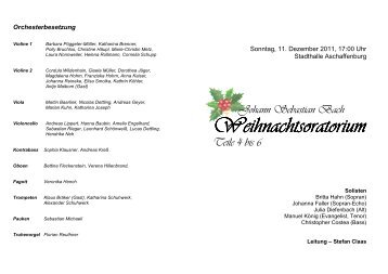 Johann Sebastian Bach Weihnachts Weihnachtsoratorium Teile 4 ...