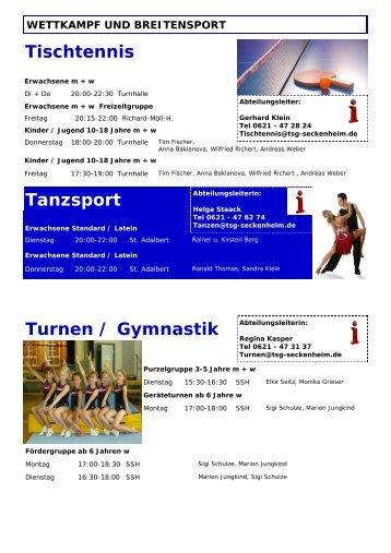 Turnen / Gymnastik Abteilungsleiterin - TSG Seckenheim eV