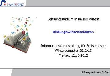Bildungswissenschaften Informationsveranstaltung für Erstsemester ...