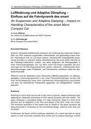 Luftfederung und Adaptive Dämpfung – Einfluss auf die ... - ika