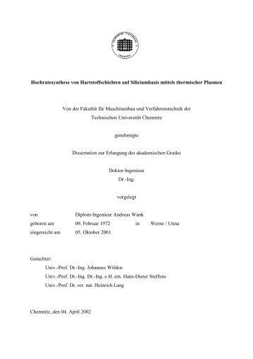 Hochratesynthese von Hartstoffschichten auf Siliciumbasis - Qucosa ...