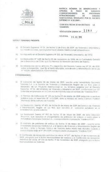 ' RATIFICA NÓMINA DE BENEFICIARIOS Y - Serviu Los Ríos