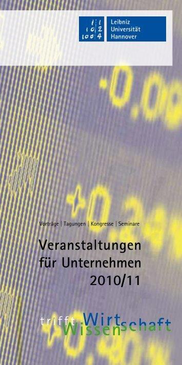 Veranstaltungen für Unternehmen 2010/11 - Dezernat 4 Forschung ...