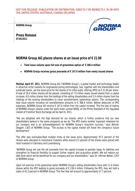 Press Release NORMA Group AG places shares at an issue price