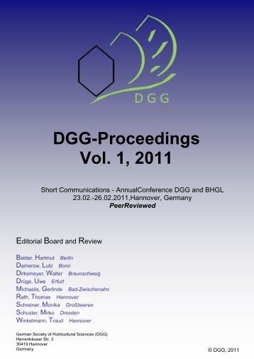 DGG-Proceedings Vol. 1, 2011 - (DGG) und des