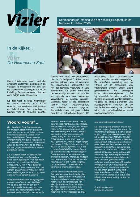 In de kijker... De Historische Zaal Woord vooraf - Koninklijk Museum ...