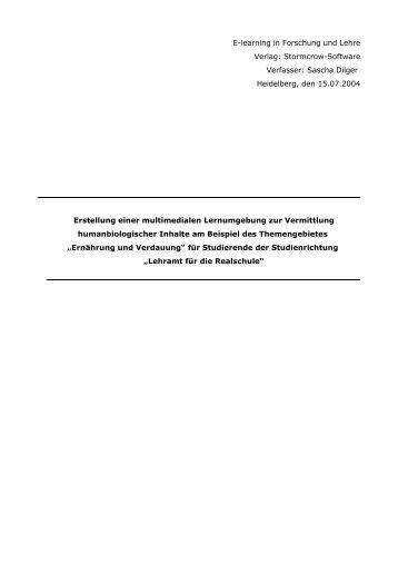 E-learning in Forschung und Lehre Verlag ... - Zoologie-Online