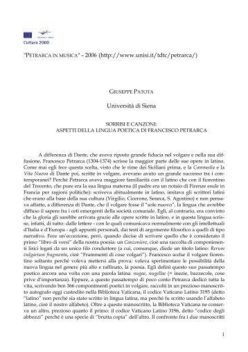 Sorrisi e canzoni: aspetti della lingua poetica di Francesco ... - Unisi.it