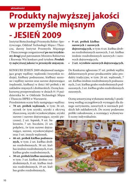 Produkty najwyższej jakości w przemyśle mięsnym - JESIEŃ 2009