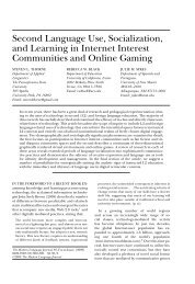 Second Language Use, Socialization, and Learning in Internet ...