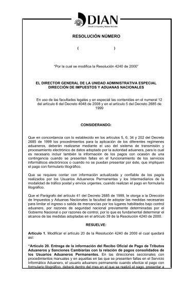 Proyecto Ley Resolucion 4240 de 2000 - Andi