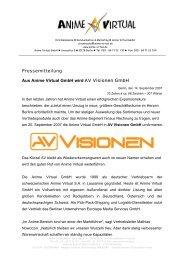 Pressemitteilung Aus Anime Virtual GmbH wird AV Visionen GmbH