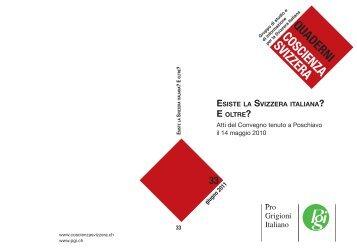 ESISTE LA SVIZZERA ITALIANA E OLTRE? - Coscienza Svizzera