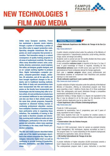 New technologies 1 - Film and Media - Index of