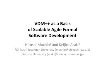 VDM++ as a Basis of Scalable Agile Formal Software Development