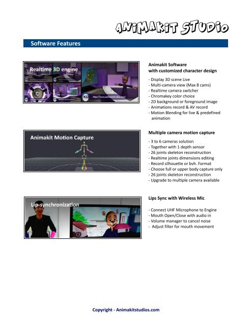 Animakit STUDIO Software Features