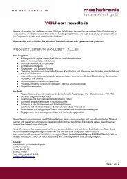 Projektleiter - mechatronic systemtechnik GmbH