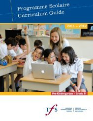 Curriculum Guide Programme Scolaire - Toronto French School