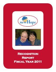 Recognition Report Fiscal Year 2011 - New Hope Village