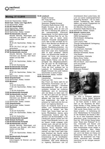 Montag, 27 - Radio Bremen