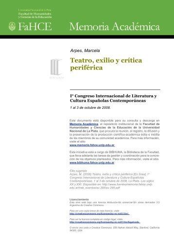 Arpes, Marcela Teatro, exilio y crítica periférica - Memoria ...