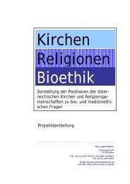 Kirchen, Religionen, Bioethik - Freie Christengemeinde