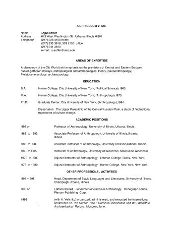 curriculum vitae - Department of Anthropology