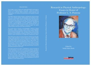 Research in Physical Anthropology: Essays in Honor of Professor ...