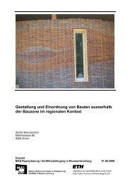 Gestaltung und Einordnung von Bauten ausserhalb der ... - vlp-aspan