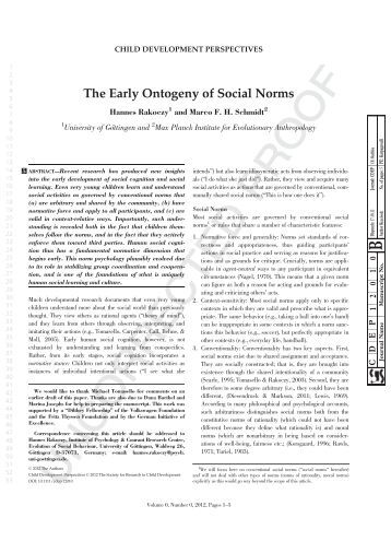 The Early Ontogeny of Social Norms