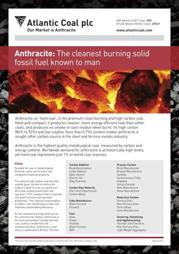 Anthracite: The cleanest burning solid fossil fuel ... - Atlantic Coal plc