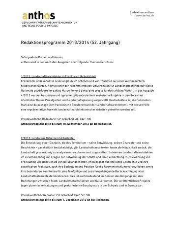 Redaktionsprogramm 2013/2014 (52. Jahrgang) - BSLA
