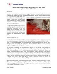 Asbestos in the United States: Occurrences, Use and Control - CSA