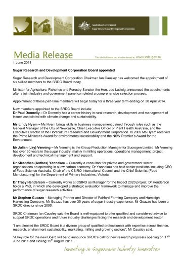 Media release - June 2011 'New SRDC Board members - Sugar ...