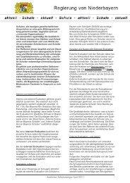 Amtlicher Schulanzeiger Juni 2011 - Die Regierung von Niederbayern