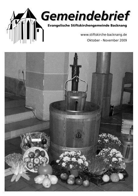 Oktober - November 2009 - Evangelische Stiftskirchengemeinde ...