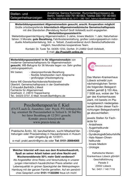 Stellen- und Gelegenheitsanzeigen - Schleswig-Holsteinisches ...