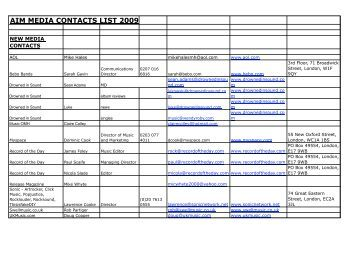 aim media contacts list 2009 - A2IM: American Association of ...