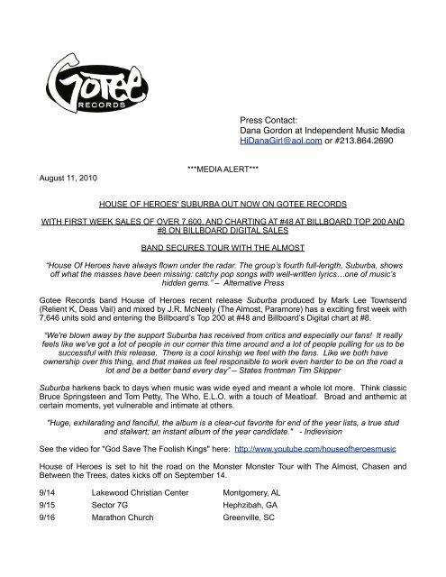 Press Contact: Dana Gordon at Independent Music Media