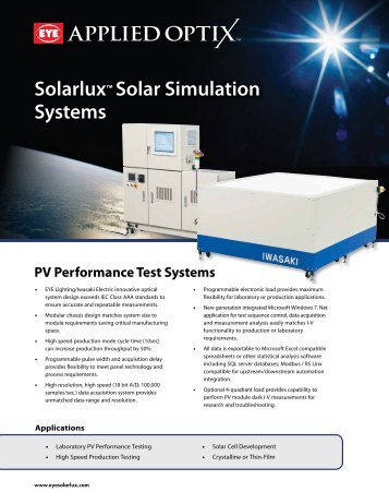 Solarlux™ Solar Simulation Systems - EYE Applied Optics