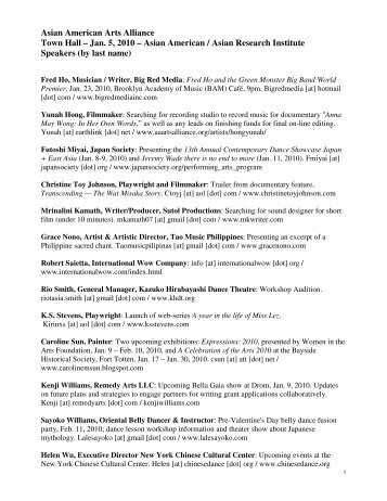 Speakers - Asian American Arts Alliance