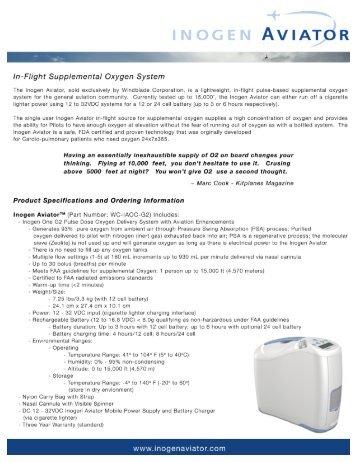 INOGEN AVIAT R - In-Flight Oxygen System, Inogen Aviator Home