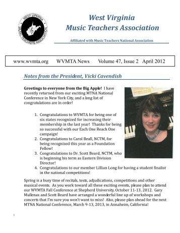 April 2012 - West Virginia Music Teachers Association