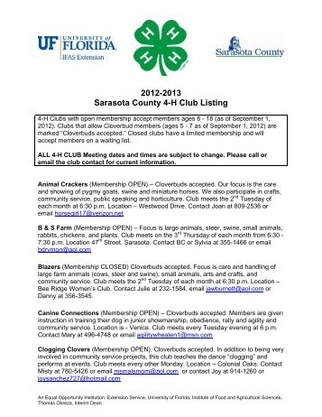 2012-2013 Sarasota County 4-H Club Listing