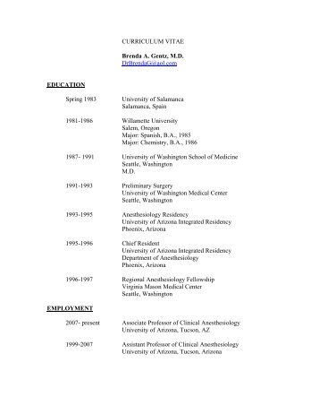 CURRICULUM VITAE Brenda A. Gentz, M.D. DrBrendaG@aol.com ...